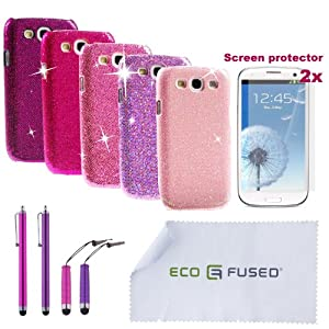 12 pieces Bling Sparkle Hard Cover Case Bundle for Samsung Galaxy S III S3/5 Sparkle Hard Cover Cases/4 Stylus/2 Screen Protectors - ECO-FUSED® Microfiber Cleaning Cloth included-Compatible with (AT&T, Verizon, T-Mobile, US Cellular, Sprint and International version GT-I9300)