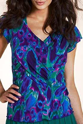 Per Una Peacock Print Mesh Jersey Top [T62-5719H-S]
