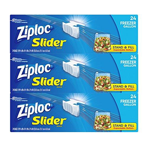 Ziploc Slider Freezer Bags, Gallon, 72 Count (Gallon Freezer Ziploc compare prices)