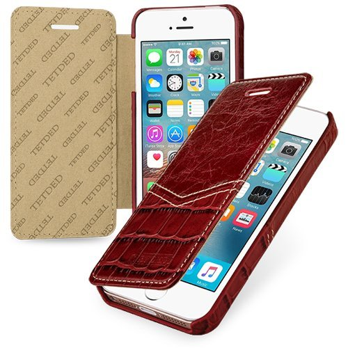 Tetded® Handcrafted Ultra Slim Case, custodia in vera pelle (vacchetta) per iPhone SE, Book Style, Burgundy Croc