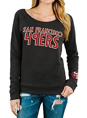 Junk Food San Francisco 49ers Off The Shoulder Juniors Black Wash Sweatshirt