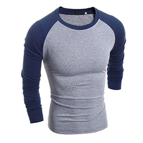 CHENGYANG Baseball T Shirt Contrast Maglie a manica lunga Rotondo Slim Fit Maglietta Camicetta per Uomo Marina Asia XL