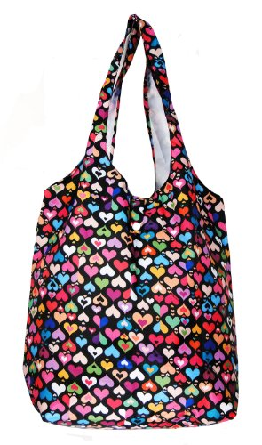 Trendy Sturdy Shopping Tote Bag – Color Hearts Pattern
