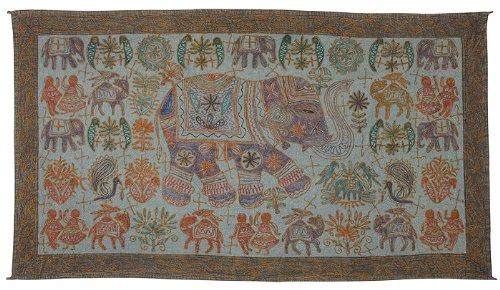 Imagen 2 de Tapiz bordado hecho a mano de la pared colgante adorna con tamaño Elephant tradicional 33 x 60 pulgadas