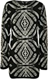 Womens Tribal Print Pattern Long Sleeve Short Ladies Knitted Dress - Sizes 8 - 14
