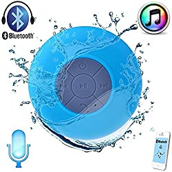 AEMA (TM) Portable Bluetooth Speaker with Suction Subwoofer Shower Waterproof Wireless Handsfree ,BLUE