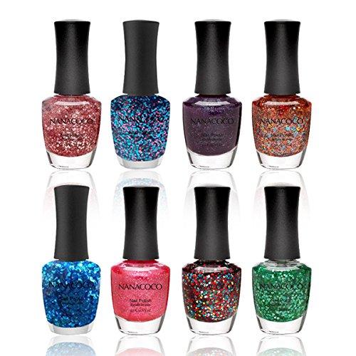 Nanacoco Nail Polish Color Lacquer Set 8-Piece Collection #18 Glitter Lovers (Multi Colored Nail Polish compare prices)