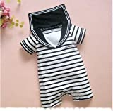 Baby Boy Sailor One Piece Romper Suit Grow Outfit Summer Marine Stripes 0 18m 6 12 month