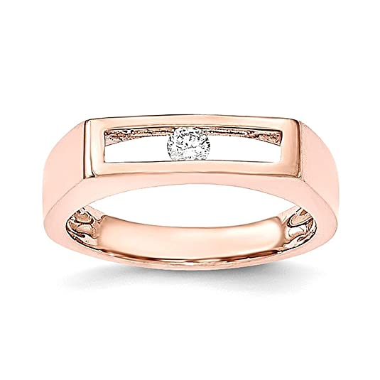 14K Rose Gold Polished Diamond Ring
