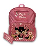 Mickey and Minnie Mouse Large Pink Backpack With Pencil Case