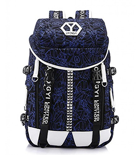 Zerd Multi-Function Outdoor Sports Traveling Duffle Cylinder Backpack Blue 3