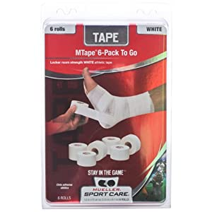 white Trainers Tape, Six Roll Pack, 1.5 X 10 yd , M Tape by Mueller