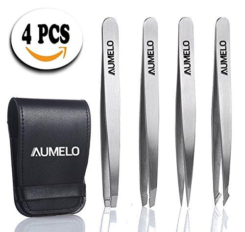 4 Tips Natural Premium Stainless Steel Tweezers Gift Set