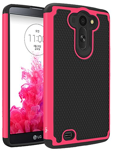 LG G Vista Case, LK [Shock Absorption] [Impact Resistant] Hybrid Dual Layer Armor Defender Protective Case Cover for LG G Vista (Hot Pink) (Phone Case For Vista Lg compare prices)