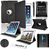 SAVFY New Apple iPad Air (2013 Version) Black Premium PU Leather 360 Degree Rotating Stand Smart Case Cover Skin 2 Card Slots for Apple iPad Air with Built-in Magnetic Auto Sleep Wake Feature, EXTRA Gift: SAVFY Stylus Pen + SAVFY Screen Protector Film (Available in Multiple Colors)