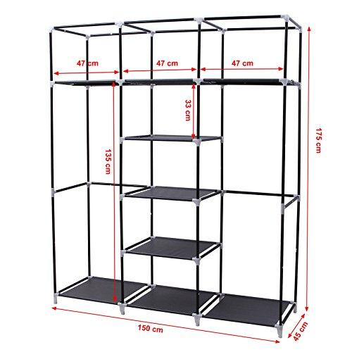 Songmics armadio cabina guardaroba appendiabiti in acciaio tessuto 175 x 150 x 45cm nero ryg12b - Appendiabiti per cabina armadio ...