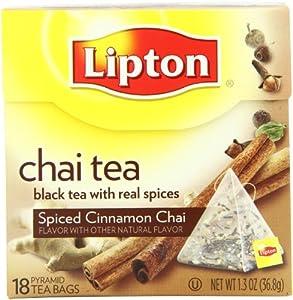 Lipton Pyramid Tea Bags, Spiced Cinnamon Chai, 18 Count (Pack of 6)