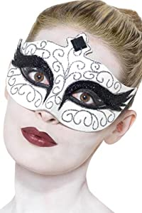 Gothic Swan Eyemask, White, with Black Jewelled Tiara Design and Tie Sides - One Size