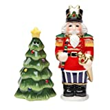 Cosmos Gifts 10522 Nutcracker And Christmas Tree Salt And Pepper Set, 3-Inch