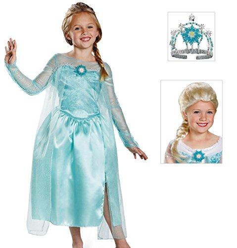 Disney Frozen Elsa Snow Queen Costume with Tiara and Wig