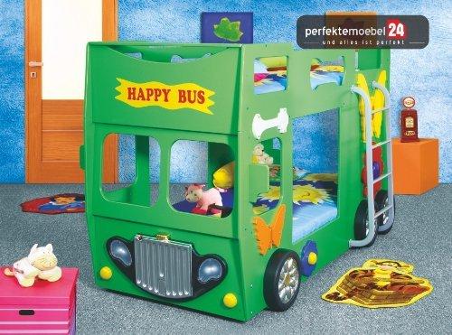 HAPPY BUS Bett Kinderbett Autobett Jugendbett Spielbett inkl. Lattenrost und Matratze kurze Lieferzeit! LED Beleuchtung! (grün)