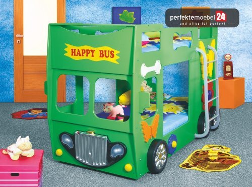 HAPPY BUS Bett Kinderbett Autobett Jugendbett Spielbett inkl. Lattenrost und Matratze kurze Lieferzeit! LED Beleuchtung! (grün) günstig