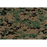Marines Woodland Digital Camouflage Nylon/Cotton Twill Fabric Print by the Yard