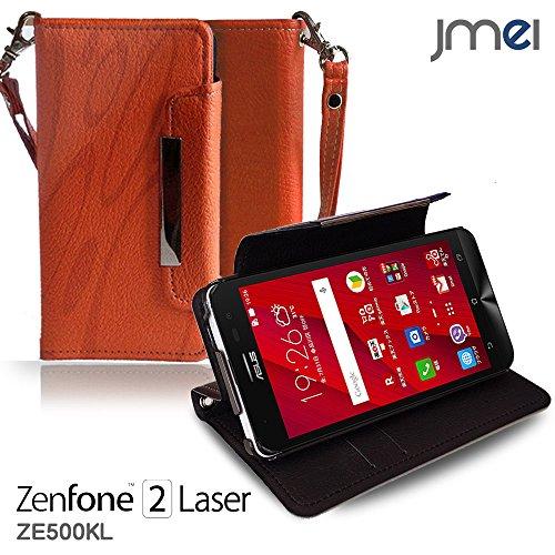 ZenFone2 Laser ZE500KL ケース jmeiオリジナルレザー手帳ケース Dandy オレンジ(柄) 楽天モバイル simフリー ASUS エイスース ゼンフォン 2 レーザー スマホ カバー スマホケース 手帳型 スマートフォン
