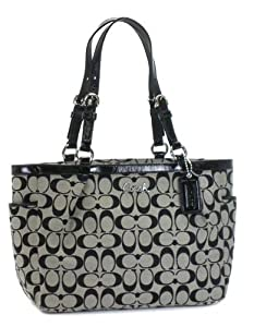 Coach Signature Gallery Tote Black White
