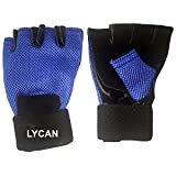 Lycan Unisex Leather Gym Gloves1 (Standard Size, Blue)