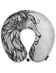 FUNKYLICIOUS Travel Pillow Poetic Lion Black And White Design (Multicolour)