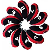 Andux Number Tag Golf Club Head Covers For Irons 10pcs/set Mt/s08 Black/red