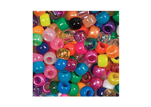beads-unlimited-6-x-8-mm-plastic-barrel-pony-mix-pack-of-500-multi-colour