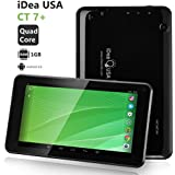 iDeaUSA 7 inch Quad Core Android Tablet PC, Android 4.4 System, 1GB RAM 8GB ROM, IPS Display 1024*600, Dual Camera, Bluetooth, Mini HDMI Output-Black