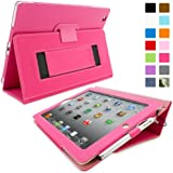 Snugg iPad 2 Case - Smart Cover with Flip Stand & Lifetime Guarantee (Hot Pink Leather) for Apple iPad 2