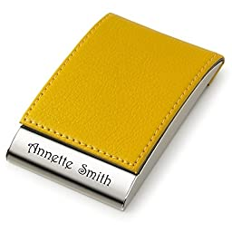 Personalized Yellow Leather Magnetic Business Card Case & Credit Card Holder Engraved Free