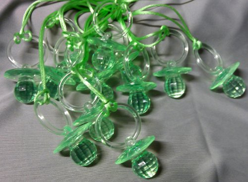 "12 Pcs 2-1/2"" Green Fancy Plastic Pacifier Necklaces ""Don'T Say Baby!"" For Baby Shower Party Game/ Favors front-435671"
