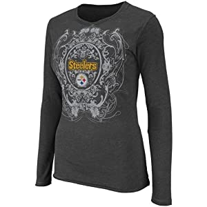 NFL Women's Pittsburgh Steelers Coin Toss Long Sleeve Crew Neck Overrdyed Tee from Majestic