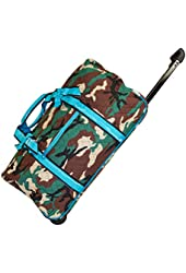 Ever Moda Quilted Collection Rolling Wheeled Duffle Bag 22-inch