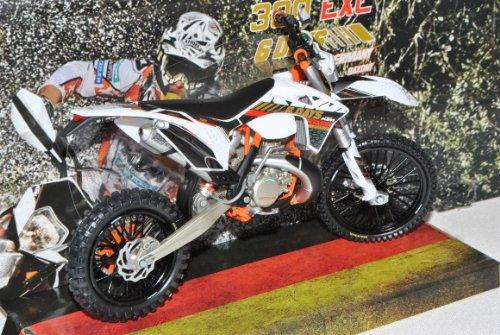 KTM 300 EXC Six Days Germany Weiss Enduro 1/12 KTM Modell Motorrad mit individiuellem Wunschkennzeichen
