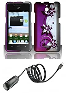 Huawei Ascend Plus H881C (Straight Talk, Net 10, Tracfone) - Accessory Combo Kit - Purple and Silver Vines Design Shield Case + Atom LED Keychain Light + Micro USB Wall Charger