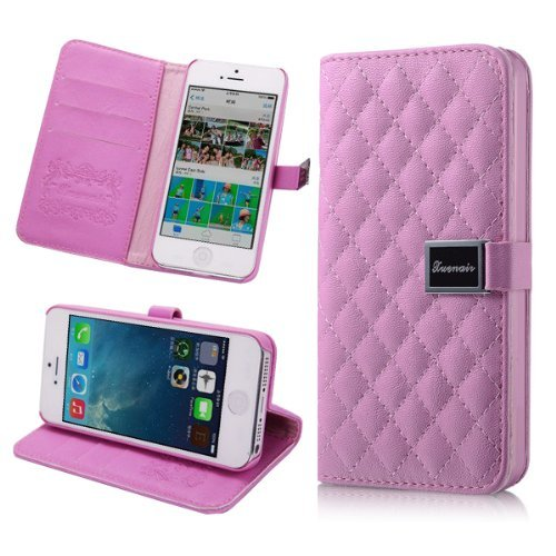 Moon Monkey Luxury Plaid Soft Leather Leather Cases Covers Wallet With Card Slots For Apple Iphone 5 5G 5S (Rose)