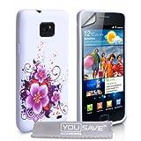 """Yousave Accessories TM Samsung Galaxy S2 Sii i9100 Violett / Wei�? Blumen Muster Silikon Gel Schutzh�1/4von """"Yousave Accessories�"""""""
