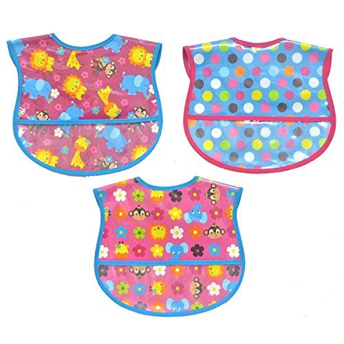 Neat Solutions Print Water Resistant Bib Set, Girl, 3-Count