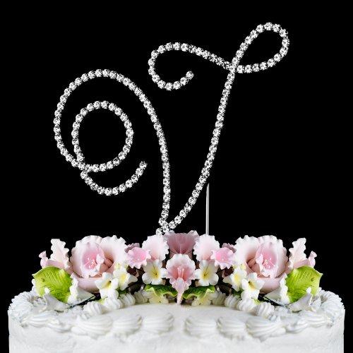 Renaissance Monogram Wedding Cake Topper Large Letter V front-1061196