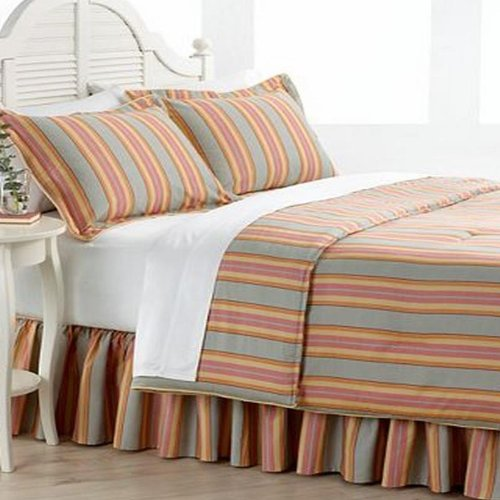 Ralph Lauren Rhys Striped Pair King Pillow Shams Red