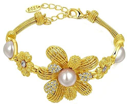 Alimab Gioielli Placcato In Oro Donne Bracciale Grande Maglia Centrale Fiore Perla Zircone Vintage