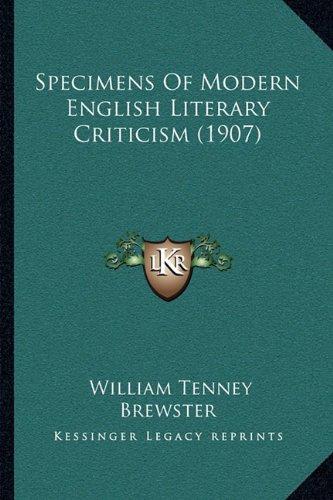 Specimens of Modern English Literary Criticism (1907)