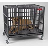 Heavy Duty Indestructible Steel Dog Crate Cage, 42 1/4