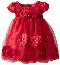 Biscotti Baby-Girls Infant Pocketful Of Posies Puff Sleeve Dress, Red, 12 Months